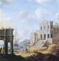 a capriccio of an italianate harbour capriccio with the arch of constantine and a church with figures and shipping beyond by jan abrahamsz beerstraten