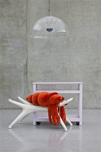 the bonin / oswald empire's nothing # 05 (cvb's sans clothing. most risqué. i'd be delighted & mvo's orange hermit crab on off-white table next to pink table song) by cosima von bonin