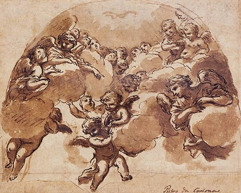 angels and putti in clouds, with the holy spirit above by ciro ferri