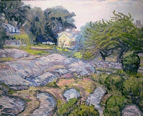 apple tree and rocks by john french sloan