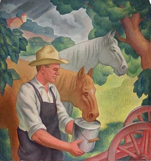 farmer with two horses by gregory orloff