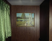 ashland, wisconsin, jig-saw puzzle in cabin #8, beach motel, july 9, 1973 by stephen shore