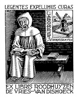 (monk) bookplate by m. c. escher