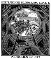 (well) new year's greeting card - 1947 by m. c. escher