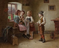 four children preparing a white flag by edmund adler
