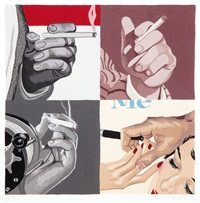 untitled - men's hand's, smoking by julia jacquette