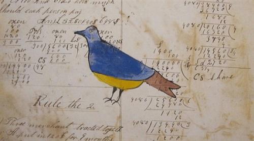 a peaceable kingdom mennonite watercolors on antique ledger paper by anonymous