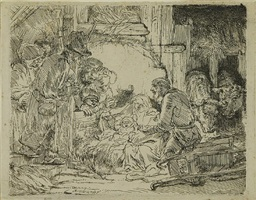 the adoration of the shepherds: with the lamp by rembrandt van rijn