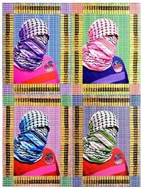 walls of gaza iii: fashionista terrorista (4 panels) by laila shawa