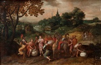joseph's brothers on their way to buy grain in egypt in a wooded landscape by hans jordaens iii