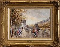 arc de triomphe et les champs élysées à paris, en 1900 by antoine blanchard