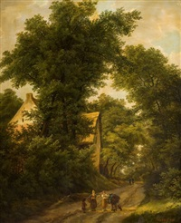 woodland landscape with figures on a path by isabella catherine van assche-kindt