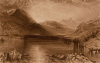 lake of zug (+ tree, ink and wash, verso)(+ lake of zug, engraving)(3 works) by john ruskin