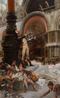 napoleon's troops in front of san marco, venice by georges jules victor clarin