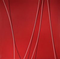 untitled (black and white lines on red background) by lorser feitelson