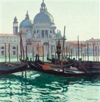 idle gondolas, venice, italy by ernest martin hennings
