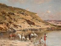 baignade de chevaux (algerian caravan bathing horses against a rocky landscape) by victor pierre huguet