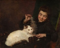 portrait of a girl with cat by antoine jean bail