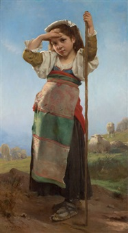 young shepherdess by charles victor thirion