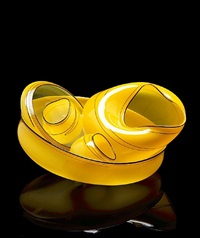 dahlia yellow basket set with black lip wraps by dale chihuly