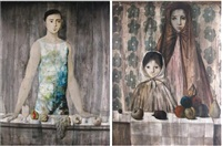 portrait of a man (+ portrait of a woman and child, lrgr; 2 works) by philippe augé