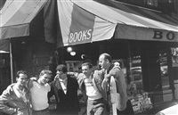 bob donlin, neal cassady, allen ginsberg, robert la vigne and lawrence ferlinghetti in front of city lights bookshop, san francisco by allen ginsberg