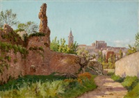 ruins along a path to a village, south of france by william baptiste baird