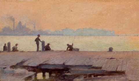 fishermen on the dock by charles courtney curran
