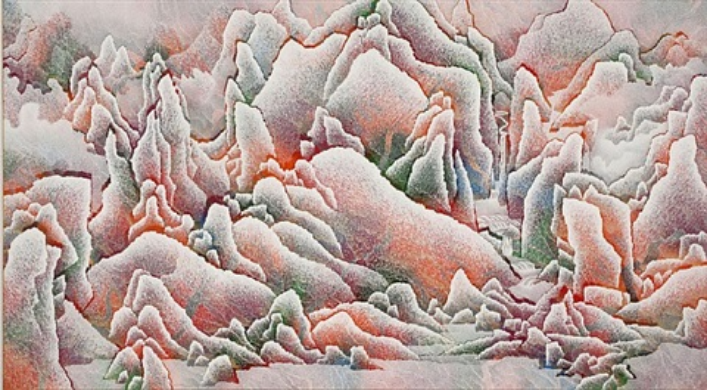 mountainscape (red) by qiu deshu