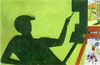 shadow of painter painting