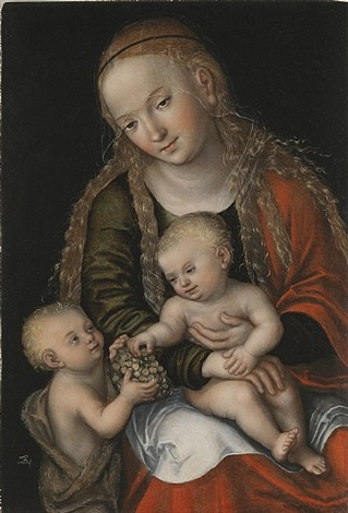 maria mit kind und johannesknaben / the virgin and child with the infant saint john by lucas cranach the elder