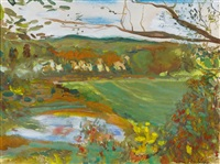 landscape with pond by jane freilicher