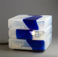 carlo nason murano square glass table lamp in shades of blue, for mazzega by carlo nason