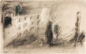 untitled (rooftops and water towers) by lyonel feininger