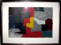 komposition, grau, rot und gelb by serge poliakoff