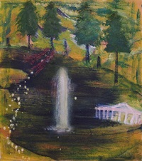 white house with fountain by katherine bradford