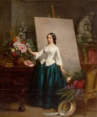 woman flower painter at the easel (almost certainly a portrait of his sister suzanne-estelle beranger-apoil) by jean baptiste antoine emile beranger