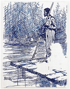 adventures of huckleberry finn-on the raft (after mark twain) by tim rollins and k.o.s.