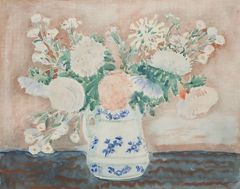still life of flowers in a painted pitcher by frederick carl frieseke