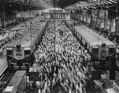 church gate station, western railroad line, bombay india by sebastião salgado
