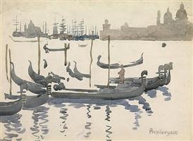 the gondolas, venice by maurice brazil prendergast