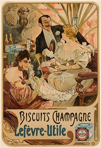 biscuits champagne lèfevre-utile by alphonse mucha