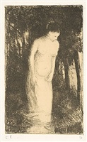 baigneuse pres d'un bois (woman bathing near a wood) by camille pissarro