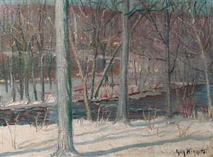 winter, trees & snow-cloaked ground by guy carleton wiggins