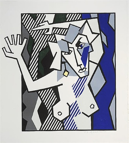 nude in the woods (from expressionist woodcuts series) by roy lichtenstein
