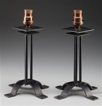 pair of table lamps from the arizona biltmore hotel, phoenix by frank lloyd wright and warren mcarthur