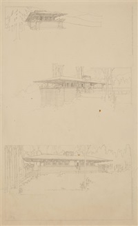 perspectives of como orchards summer colony (3 works) by frank lloyd wright