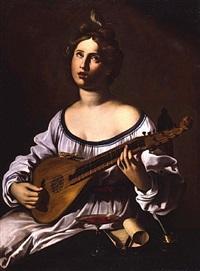 suonatrice di liuto (allegoria della musica) by antiveduto grammatica