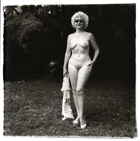 nudist lady with swan sunglasses, pa by diane arbus