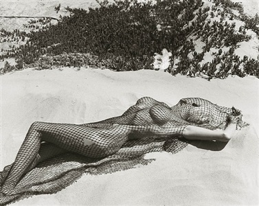 brigitte nielsen with netting 2, malibu by herb ritts